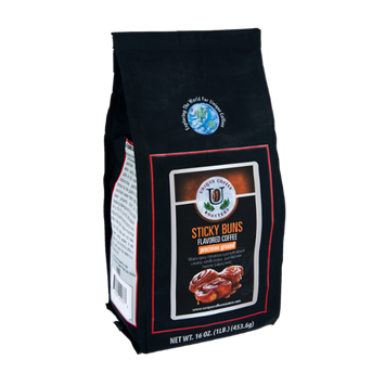 Unique Coffee Roasters Sticky Buns Flavored Precision Ground Coffee