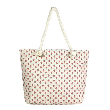 Amtal Women Oversize Circle Straw Paper Beach Style Tote Bag w/ Leather Handle
