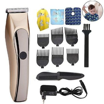 Full Waterproof Rechargeable hair clipper trimmer ceramic head cutting low noise infant precision clipper professional baby Adult barber hair cutting machine Salon Apron with Limit Combs
