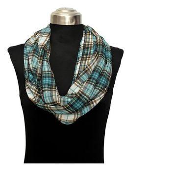 Amtal Women Lightweight Plaid Checkered Green Teal Design Chiffon Infinity Scarf