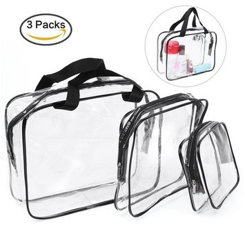Pretty See Clear PVC Cosmetic Bags Waterproof Makeup Bags Travel Toiletry Storage Case, Set of 3