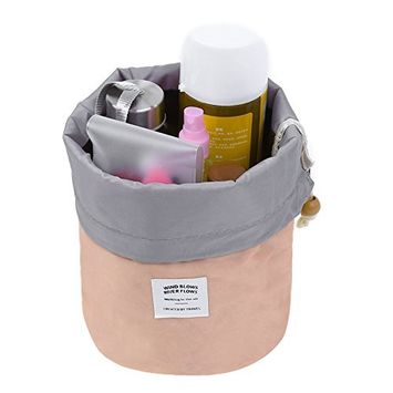 Pretty See Waterproof Makeup Bag Cosmetic Toiletry Bag Travel Barrel Carry Case with Drawstring and 3 Mesh Pockets, Pink