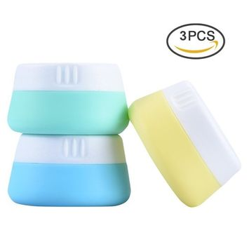 Pretty See Portable Silicone Cosmetic Containers Soft Silicone Cream Jars Lightweight Travel Accessories Containers with Hard Sealed Lids, Suitable for Travel, Home and Outdoors, 20ml, Set of 3
