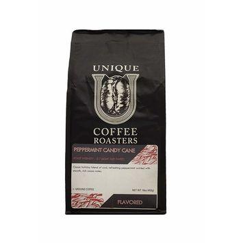 Holiday Peppermint 'Candycane' Flavored Ground Coffee, 1 LB (16 oz) bag, Medium Roast, 100% Arabica Premium Quality Flavor