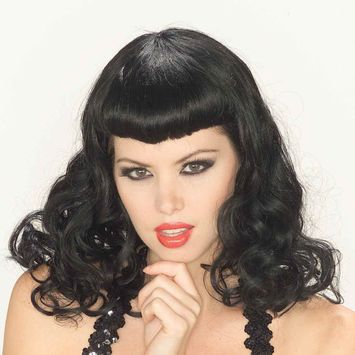 Pin-Up Girl Black Wig Bettie Page Vintage Sexy 50s Classic 40 Retro Adult Womens