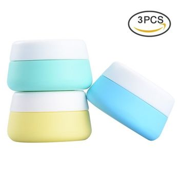 Pretty See Portable Silicone Cosmetic Containers Soft Silicone Cream Jars Lightweight Travel Accessories Containers with Hard Sealed Lids, Suitable for Travel, Home and Outdoors, 30ml, Set of 3