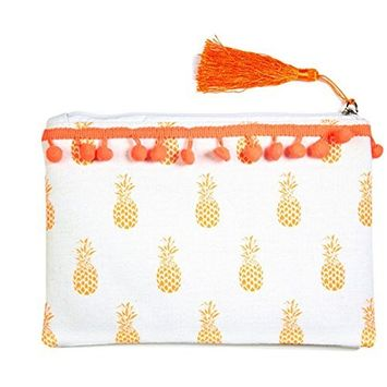 Amtal Women Small Pom Pom Trim Summer Print Beach Zipper Pouch Organizer Bag