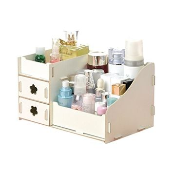 Pretty See Wooden Cosmetic Organizer DIY Jewelry Container Multi-purpose Makeup Storage Box for Organizing Cosmetics and Jewelries, White
