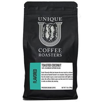 Toasted Coconut Ground - Unique Coffee Roasters - (2) 12oz. Bags - 24oz. Pack …