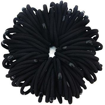 100 Pcs: HBY 4mm Thick Solid Stretch Pony Elastics Ponytail Holders, Black