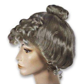 Dark Grey Victorian Wig Gibson Girl Lady Curly Upsweep 1800s Costume Womens
