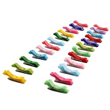 40 pcs: HBY Girls Baby Toddler Ribbon Mini Hair Bow Snap Clips, Barrettes Hair Clip Set
