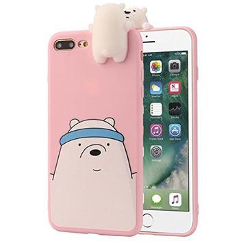 iPhone 7/7 Plus Case,Sunfei 3D Cartoon Animals Cute Bare Bears Soft Silicone Case Skin