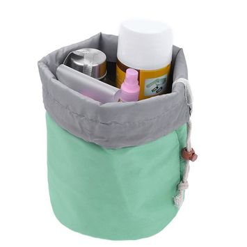 Pretty See Waterproof Makeup Bag Cosmetic Toiletry Bag Travel Barrel Carry Case with Drawstring and 3 Mesh Pockets, Green