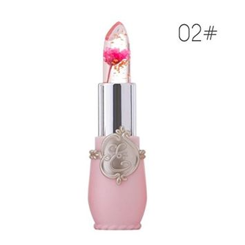 Lipstick,Sunfei Beauty Bright Flower Crystal Jelly Lipstick Magic Temperature Change Color Lip (Pattern One-A)