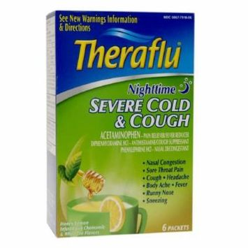 TheraFlu Nighttime Severe Cold & Cough Packets, Honey Lemon, Chamomile & White Tea 6 Packets (Pack of 2)