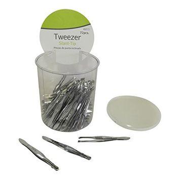 Wholesale Lot of 72 Professional Slant Tip Tweezer Carbon Steel In Counter Jar Display