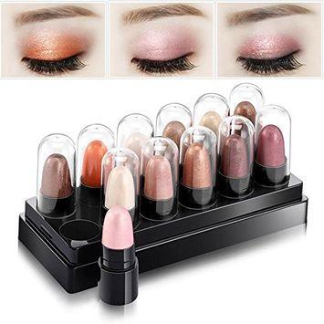 Huayang| 12Pcs/Set Cosmetic Waterproof Smoky Shimmer Eyeshadow Palette/ Pen/ Pencil - Eyeliner Pen Smooth for Eye Foundation Makeup