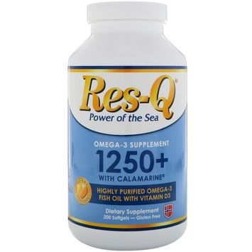 Res-Q, 1250+ with Calamarine, Omega-3 & Vitamin D3, 200 Softgels