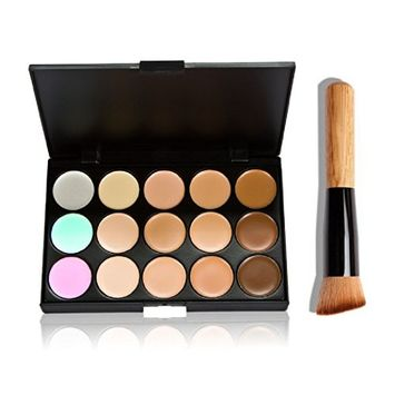 eshion 15 Color Camouflage Concealer Make Up Cream Palette with Brush