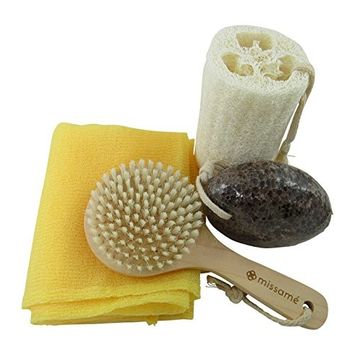 Missamé Exfoliating Kit Set With Bath Body Brush, Loofah Sponge, Bath Towel And Pumice Stone For Feet