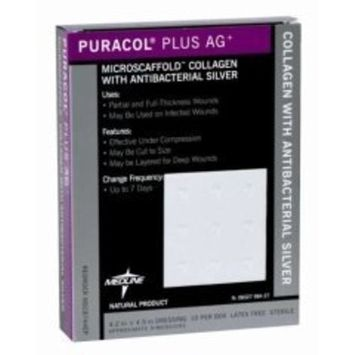 Medline MSC8744EPH Puracol Plus AG+ Collagen Dressings With Silver, 4X4