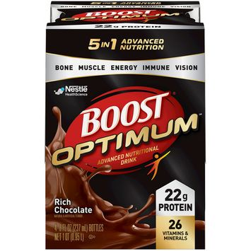 Boost Optimum Advanced Nutritional Drink Rich Chocolate, 8 fl oz Bottles, 16 Count