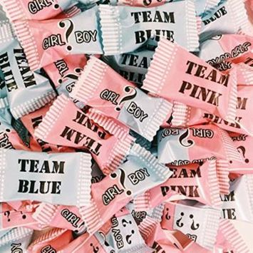Baby Reveal Buttermints - 13 oz. Bag - Approximately 100 Individually Wrapped Mints - Pink and Blue -