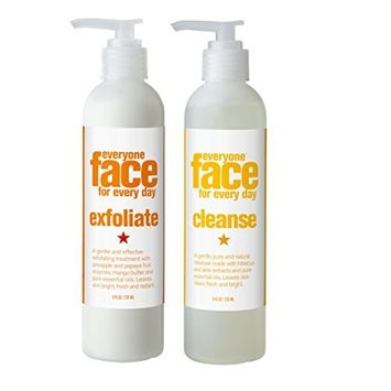 Everyone Face Exfoliate and Cleanse Skincare Bundle With Pure Essential Oils of Lemon, Ylang Ylang & Pure Plant Extracts Of Aloe & Hibiscus 8 fl. oz. and 8 fl. oz. each