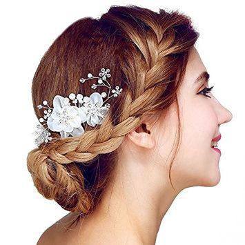 Floral Hair Comb Pearls Crystal Wedding Hair Jewelry Handmade Accessories Bride Bridesmaid