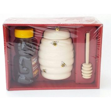 Holiday Honey, Beehive Ceramic and Wooden Spoon Gift Set