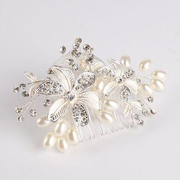 Elehere Leaves & Pave, Crystals & Pearls Bridal Hair Comb Rhinestone Bridal Headpiece for Bride Bridesmaids (Silver 1)