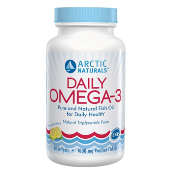 Arctic Naturals Daily Omega-3 Purified Fish Oil Supplement Softgels