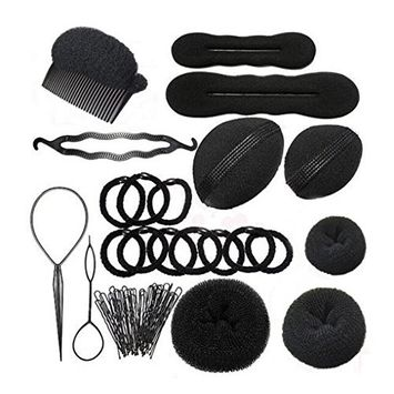 8PCS Different Styles Set Fashion Hair Design Tools Hair Design Styling Accessory Hair Braider Hair Design Kit Maker Pads Hairpins Clip Donut Tool Kit For DIY Use