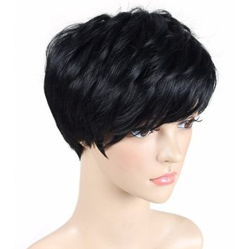 Diforbeauty Unisex Fashionable Short Straight with Oblique Bangs Wigs for Cosplay Party Daily Use [1B# Off Black]