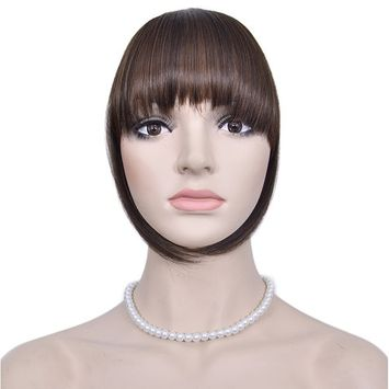 Diforbeauty Short Flat Two Side Hair Clips in Hair Bangs Fringe Hair Extensions Piece (4/30-Two Tone Brown)