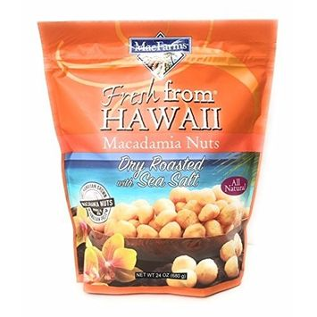 MacFarms Dry Roasted Macadamia Nuts With Sea Salt Fresh From Hawaii 24 Ounce (2 Pack)