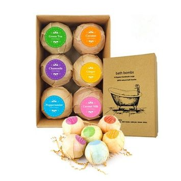 Jiquan Bath Bombs Gift Set, 2.1 oz Handmade Spa Floating Fizzies, Organic and Natural Ingredients, Best Gift Kit Ideas for Girlfriends, Women, Moms, 6 pack