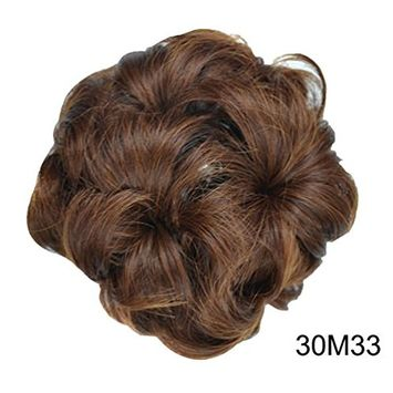 PrettyWit Bridal Ponytail Extension Scrunchie with Claw Tray Ponytail Hair Accessories Updo Hairpiece Wavy Curly Messy Hair Bun Chignons Hair Piece Wig for Women-Light Auburn & Dark Auburn 30M33