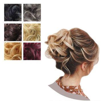 PrettyWit Hair Bun Updo Extensions Chignons Hair Piece Wig Scrunchy Scrunchie Hairpiece Ribbon Ponytail Bridal Drawstring-Black to Dim Gray 1TDimgray