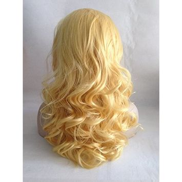 Cupidlovehair Yellow Blonde Wave Medium 18 Inches Heat Resistant Korea Synthetic Fiber Hair Lace Front Wigs Natural