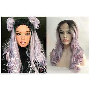 Cupidlovehair Natural Wave Black Ombre Mixed Pink Purple Blue Blonde Colors Synthetic Lace Front Wigs For Women 20 22 Inches Long Wavy
