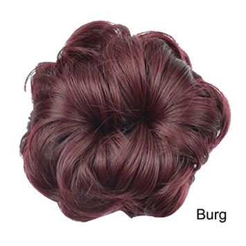 PrettyWit Hair Updo Hairpiece Ponytail Hair Extensions Wavy Curly Messy Hair Bun Chignons Hair Piece Wig Bridal Ponytail Extension Scrunchie with Claw Tray Ponytail-Burgundy