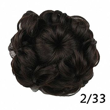 PrettyWit Hairpieces Short Curly Hair Extension Hair Bun Updo Extensions Donut Hair Chignons Hair Piece Wig Scrunchy Bridal Drawstring Hair Chignons-Bleach White Blonde 613