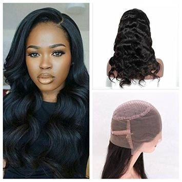Cupidlovehair Body Wave 10A Grade Unprocessed 100% Cambodian Virgin Human Hair 360 Full Lace Frontal Wig 150% Density With A Lot Baby Hair Natural Black (14