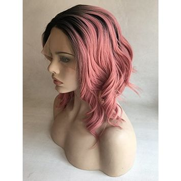 Cupidlovehair Black Ombre Dark Pink Color Natural Big Loose Wave Short Bob Heat Resistant Synthetic Lace Front Wigs 12inch