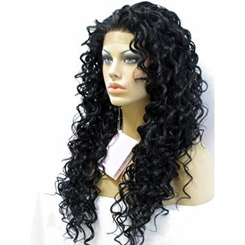 Cupidlovehair Long 24Inches Natural Black Big Loose Curly Heat Resistant Synthetic Hair Glueless Lace Front Wigs (Hair length 24