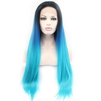 Cupidlovehair Long Silky Straight Black Ombre Light Blue Color Heat Resistant Synthetic Lace Front Wigs For Women (Hair Length 22