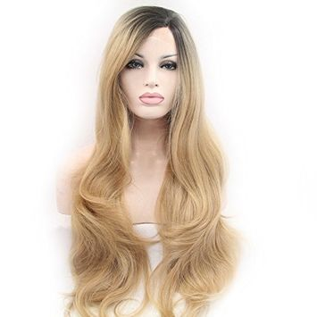 Cupidlovehair Long Big Natural Wavy Black Ombre Blonde Color Heat Resistant Synthetic Lace Front Wigs For Women (Hair Length 20