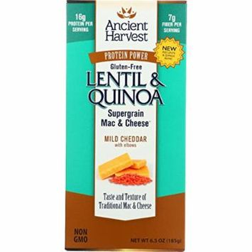 Ancient Harvest Mac and Cheese - Supergrain - Lentil and Quinoa - Mild Cheddar with Elbows - Gluten Free - 6.5 oz - case of 6